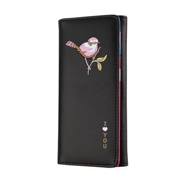 2c1f40bf0fde Для женщин кошелек Для женщин Ретро Птицы печати длинный кошелек портмоне  держателей карт сумки женские девушки