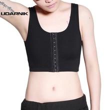 Lesbian Les Crop Hook Vest Tank Top Tomboy Bandage Breast Chest Binder Bustiers Corsets FTM Bra Intimates White/Black 062-002