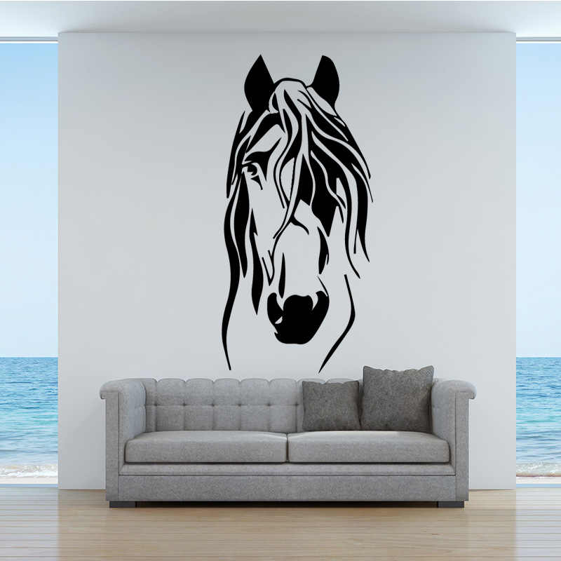 e5c7d46adb8 Cartoon Funny Horse Vinyl Wall Stickers For Living Room Kids Rooms Home  Decoration Accessories Removable Wall