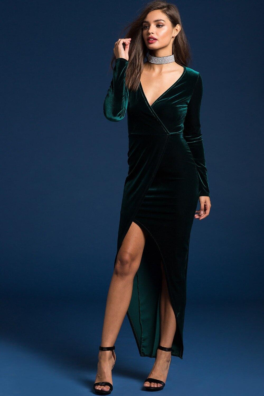 826c3df54649d Nouvelle De Noël Vert Robes De Soirée en Velours Sexy Club Robe D hiver  2017 Femmes Maxi Robe Robe Vin Velours Robe Robe Largo dans Robes de Mode  Femme et ...