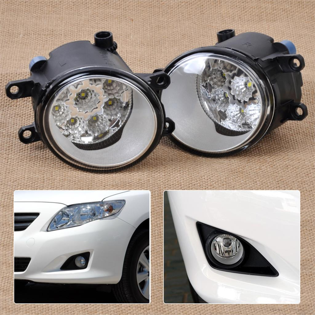 DWCX 2Pcs 55W 9-LED Round Front Right/Left Fog Light Lamp DRL Daytime Driving Running Lights for Toyota Camry Corolla Yaris dwcx 2pcs set right left fog light lamp with h11 halogen 55w bulb assembly for nissan murano rouge versa infiniti ex35 m37 q70