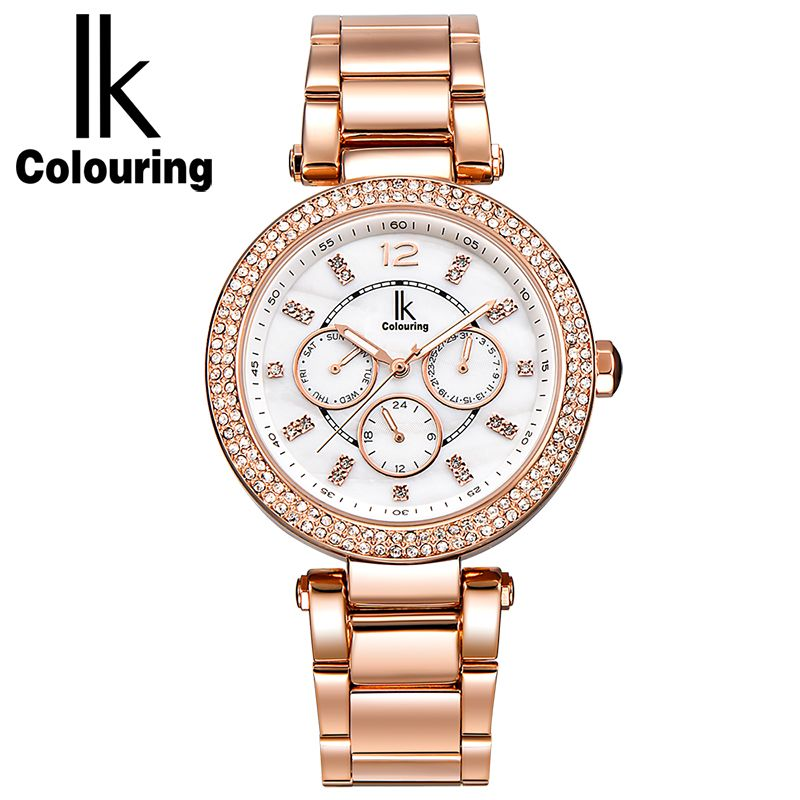 ФОТО IK Colouring Luxury Dress Women's Girl Fashion Day Week Date Rose Gold Black White Dial Stainless Steel Quartz Watch Wristwatch