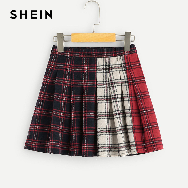 SHEIN Kiddie Girls Color Block Plaid Preppy Skirt Children Skirts 2019 Spring Elastic Waist Casual Flared Teenager Mini Skirts split back plaid skirt