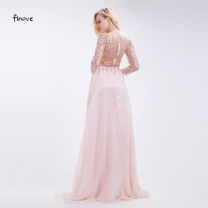 Image 2 - Prom Dresses Party Long Sleeve Crystals Beading By Hand Sexy See through A Line Bridesmaid Dresses Robe de Soiree Finove