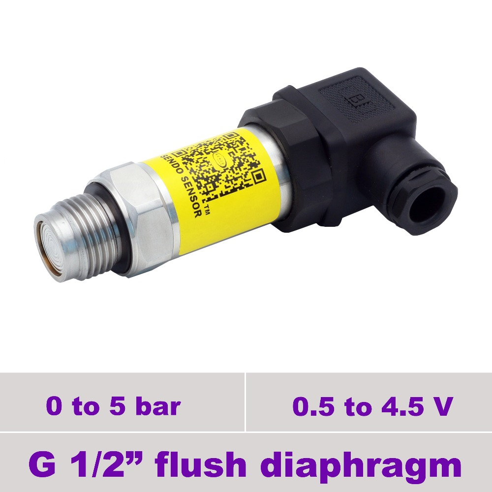 0.5 to 4.5V signal, flush mount diaphragm pressure sensor, 0 to 5bar gauge,  G1 2 thread, stainless steel 316L wetted parts