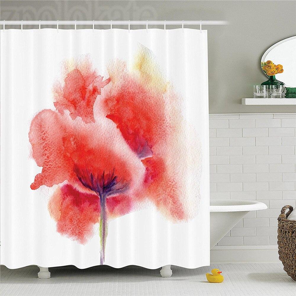 Watercolor Flower Faded Blooming Poppy Flower on Plain Background Romantic Artwork Print Polyester Bathroom Shower Curtain Set