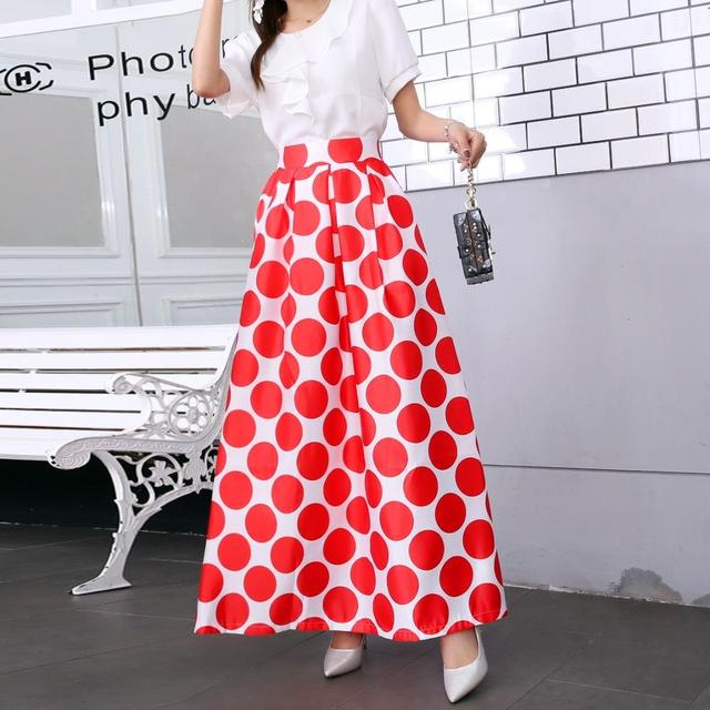 Plus size Maxi Skirt Summer Fashion Vintage High Street A-line High Waist Floral Polka Dot Long Skirts for Women 2020 Jupe Longa 19