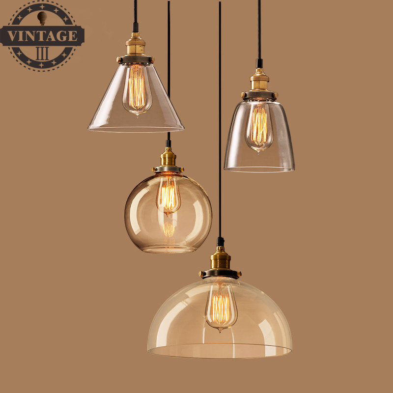 Antique Attic Clear Glass Pendant Light For Living/Dining Room Table Ceiling Hanging Bar Light Fixture Retro Lighting luminaire 9lights e27 diy ceiling spider pendant lamp shade light antique classic adjustable retro chandelier dining home lighting fixture