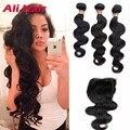 Grade 7A Brazilian Virgin Hair With Closure 3 Bundles Brazilian Body Wave with Closure Brazilian Hair Weave Bundles With Closure