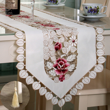 Morigins Popular Table Runner Tablecloth Embroidered Hollow Out Runners Modern Flag Wedding Party Home Decor N203