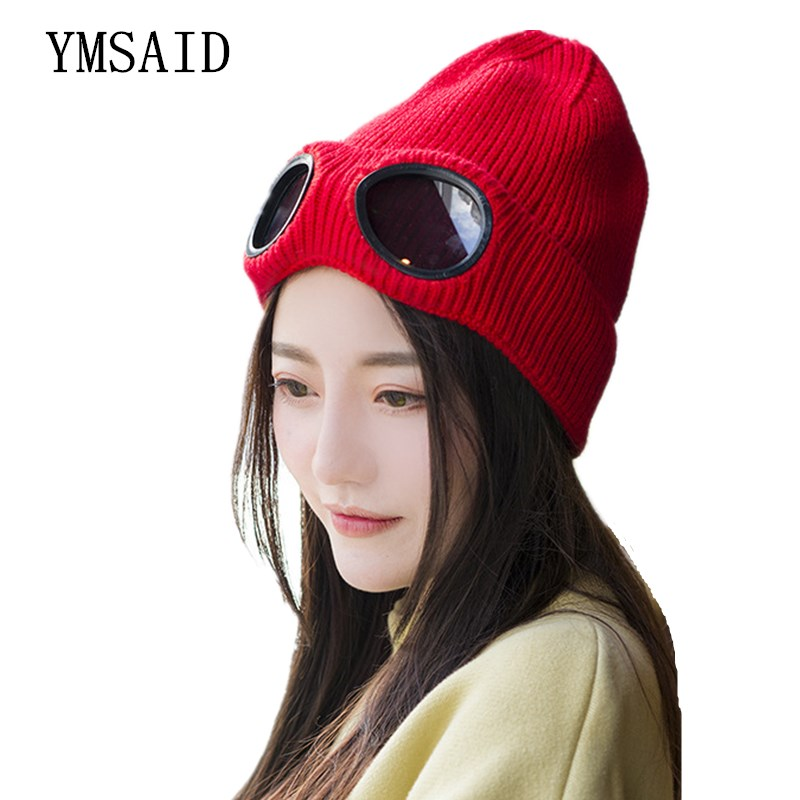 Ymsaid 2018 Windproof Glasses Hat Wool Winter Fashion Gorros Cap Fixing Stacking Knitted Hats Women Personality Ski Cap