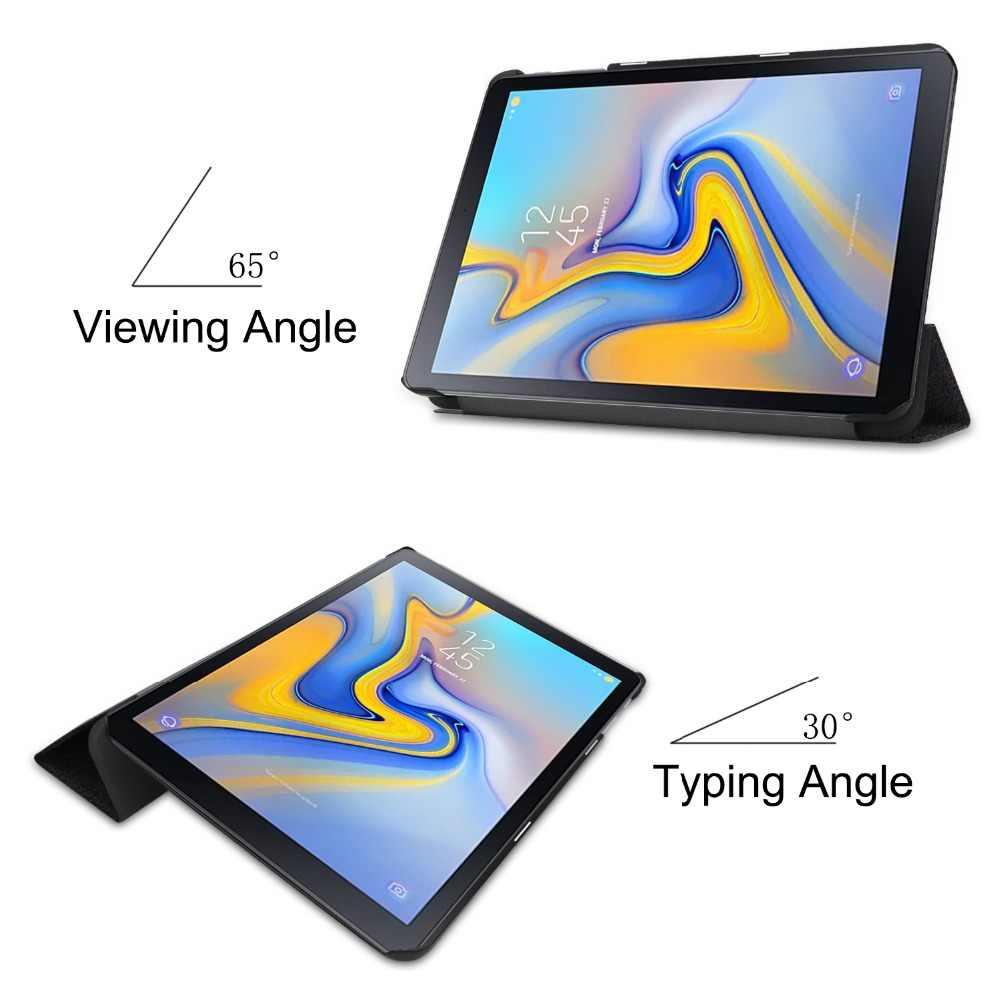 """Drukowane klapki skórzane etui z klapką do Samsung Galaxy Tab zaawansowane 2 10.1 """"SM-T583 Ultra cienka tylna stojak Capa Fundas + rysik"""