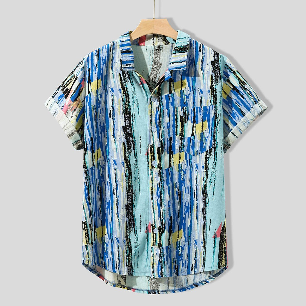 Men Basic Cotton Hawaiian Bechwear Summer Short-Sleeve Shirts