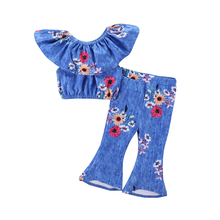 Hot Selling Sunflower Floral Clothing Sets For Kids Girls Lovely Short Tops +Flare Pants Two Sets Children Clothes Sets Outfits babybaby girl clothing set sunflower girls clothes sets kids casual sport suit sets hot selling summer toddler