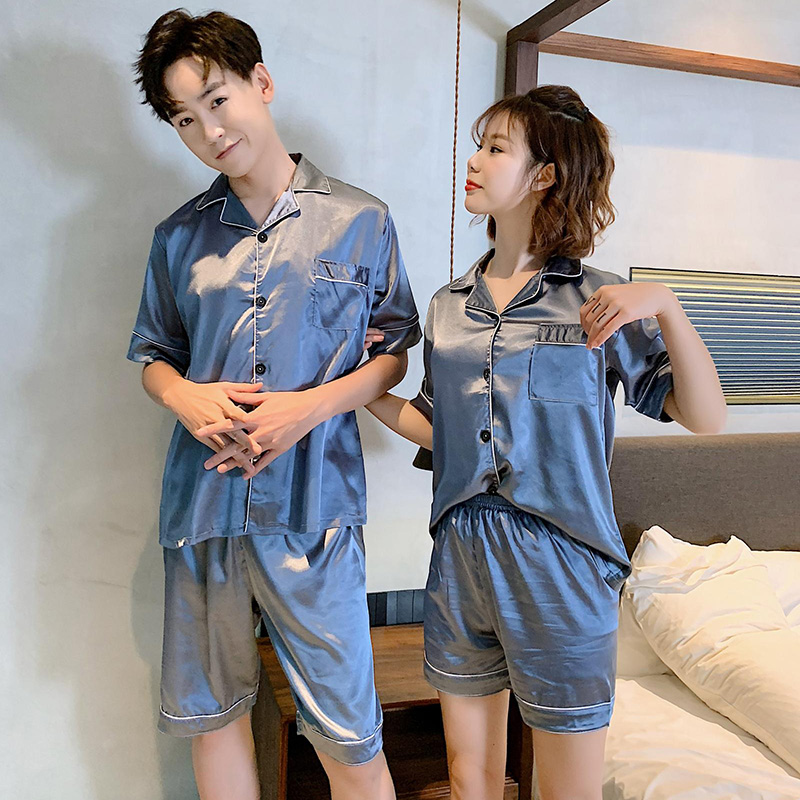 Couples Silk Satin Shorts   Pajamas     Sets   for Women 2019 Summer Short Sleeve Sleepwear Men Loungewear Homewear Pijama Mujer Clothes
