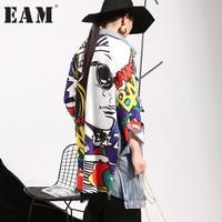 EAM 2018 New Spring Lapel Printed Cowboy Split Joint Loose Long Big Size Denim Jacket
