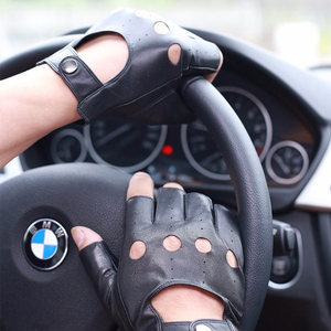 Image 1 - Svadilfari wholesale Winter 2018 Mens Sheepskin Driving Genuine Leather Gloves Fingerless Black Driver Glove Fathers Day Gift