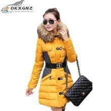 OKXGNZ Зима Clothing 2017 Новая Мода Большой размер Женщин Хлопка Пальто Средней Длины Утолщение С Капюшоном меховой воротник Пальто Одежда