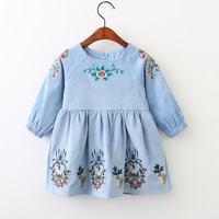 Kids Clothes Autumn Spring Girls Dresses Long Sleeves Retro Wind Doll Dress Lovely Embroidery Pattern Children
