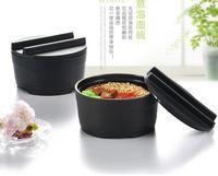 Japanese Soup Noodle Bowl With Lid Black Matte Wood Grain Large Ramen Melamine Bowl Cuencos Saladier