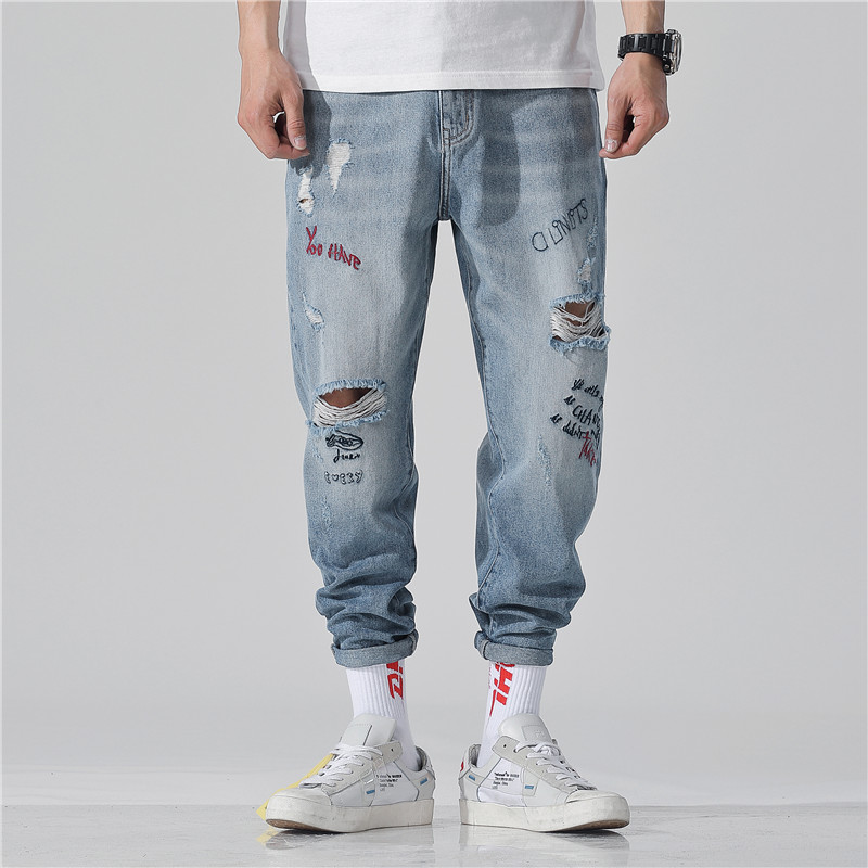 Ink G Cattle Men's fashion in 2019 Ripped   jeans   Motorcycle Fitness Wear   Jeans   New fashion   Jeans   Men's Style High-end quality