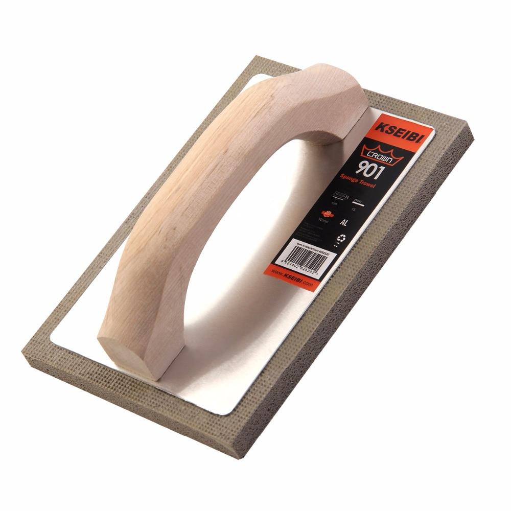KSEIBI 21x14cm Supper Fine Cement Plastering Rubber Sponge Grout Float Tile Hand Trowel Tools w/ Wood Handle Italy Type #282520