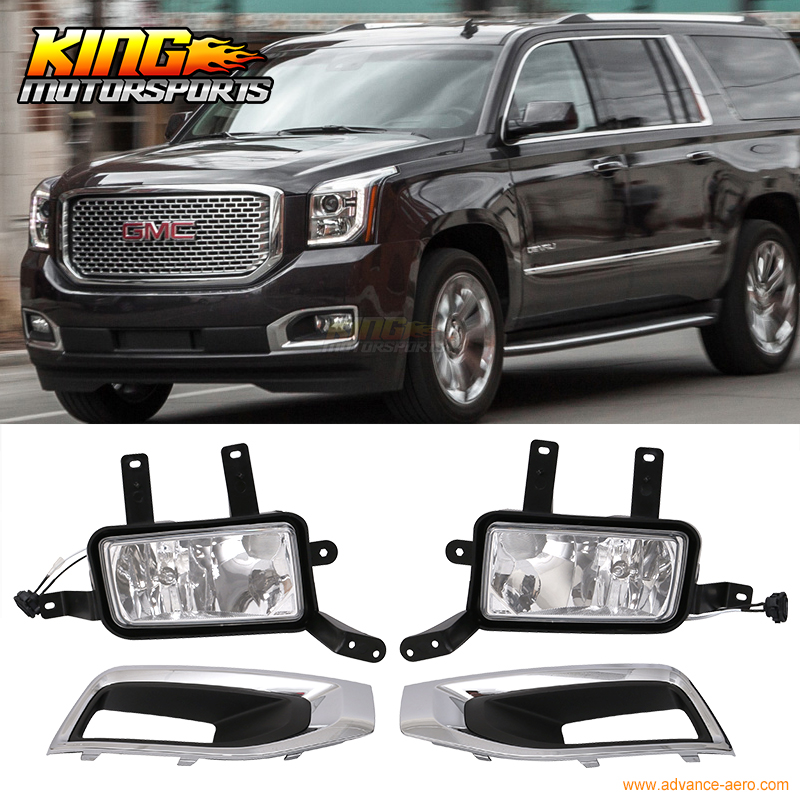 Fit For 15-17 GMC Yukon Denali Front Fog Light Lamp Chrome Bezel LH RH H3 12V 20W Clear Lens xq машина р у gmc yukon