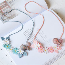 Korean Handmade Cute Cartoon Fabric Bee Wreath Flower Princess Kids Children Girl Necklace Apparel Accessories-HZPRCGNL054F