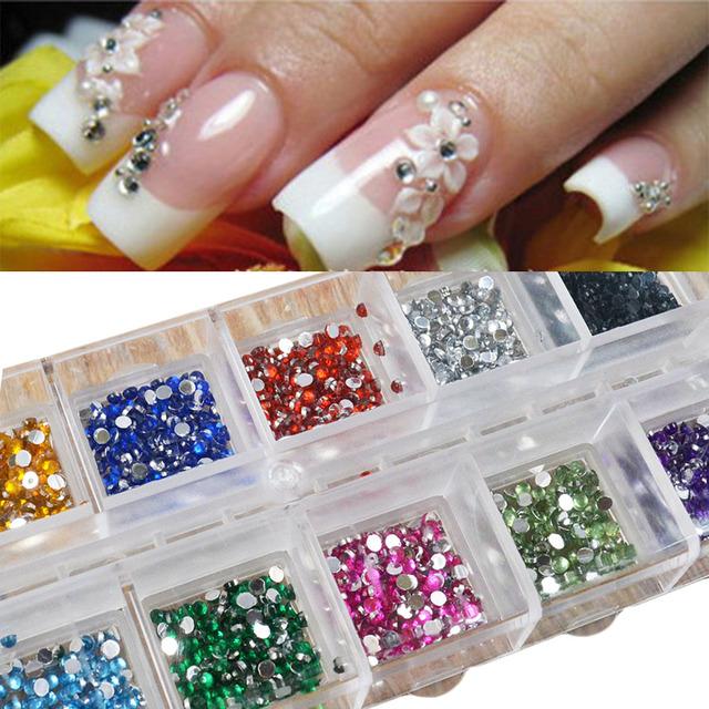 500Pcs 2mm Round Rhinestones 12 Colors Hard Case Nail Art Tips Decoration Created Gemstones Acrylic