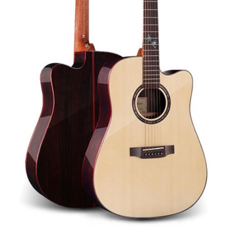 DIDUO 41 Inch Single Board Acoustic Guitar Rosewood Spruce Facefolk Corner Light Wood Guitar D-300C high quality solid wood guitar 41 inch spruce wood panel acoustic guitar guitarra free shipping