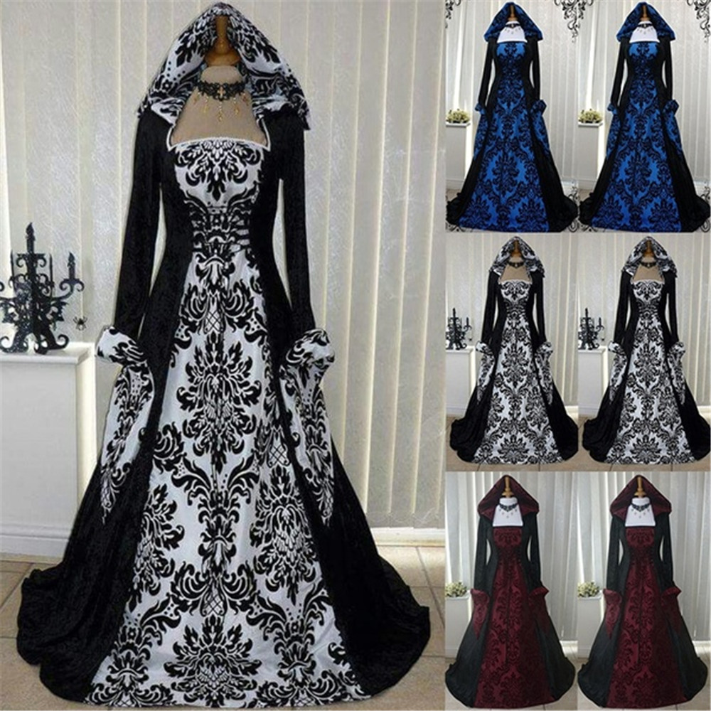 Halloween Cosplay Dress Floor-Length Vintage-Style Retro Gothic Women Maxi Long