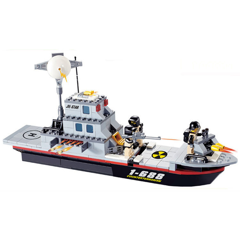 284pcs Military Series Sea Warships Ship Blocks Toy for Boys Enlighten Building Bricks Figures Toy Children DIY Gift K0308-29013 enlighten building blocks navy frigate ship assembling building blocks military series blocks girls