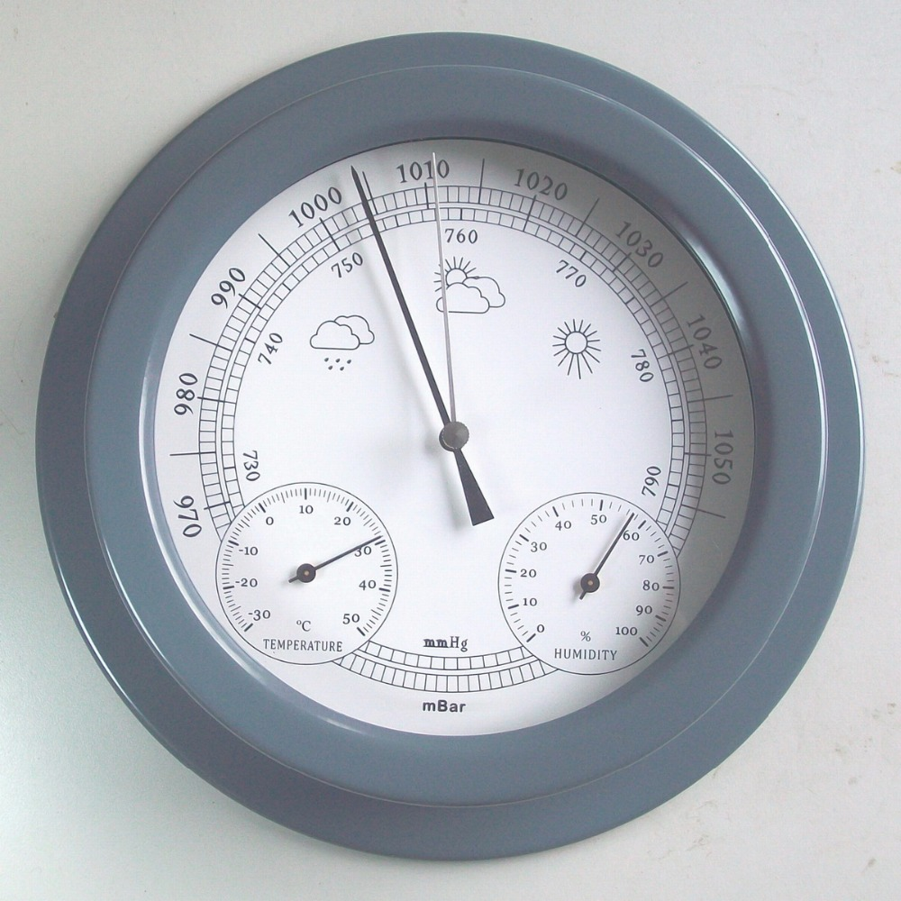 European style Dark gray 22.5CM 3 in 1 Thermometer Hygrometer Barometer Weather Station