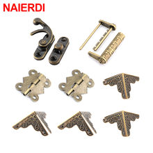 NAIERDI 8Pcs/set Furniture Hardware Chinese Hardware Antique Wooden Box Latch Hasp+Mini Hinges+Corners Brackets+Old Padlock(China)