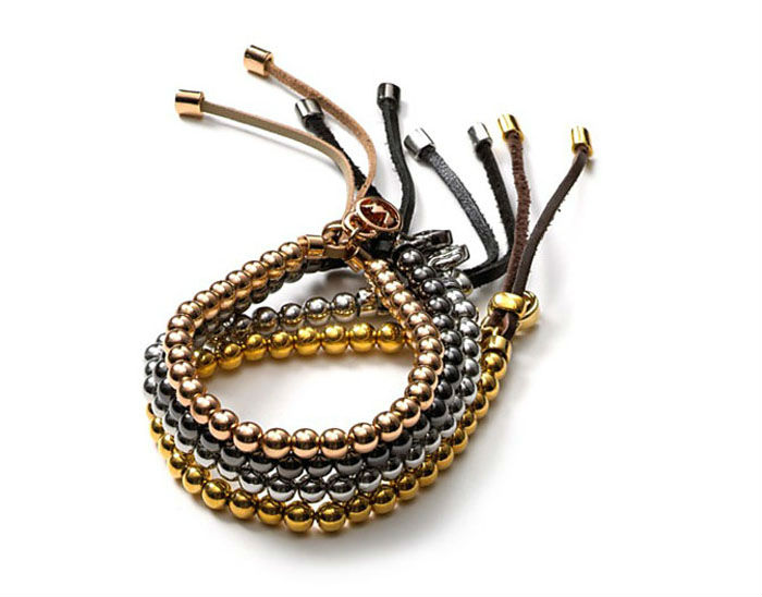 4PCS Mixed Colours Fashion Brass Bead Stretch Leather Bracelets #23374