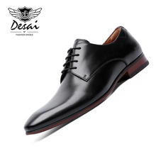 купить DESAI New Genuine Leather Shoes Men Business Dress Shoes British Style High-end Men's Formal Wedding Shoes Classic Flats Oxfords онлайн
