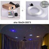 Free shipping quality warrant mix size fibre 0.75 1 1.5mm 16W RGB RF LED lighting Fiber Optic Star Ceiling Lights
