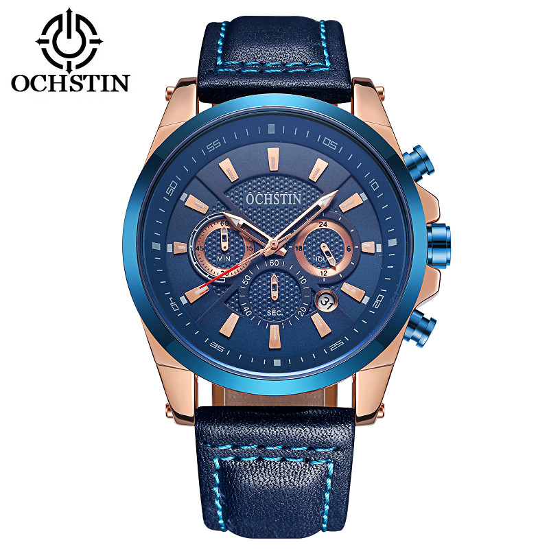 OCHSTIN Brand Sport Watch Men Top Brand Luxury Male Leather Waterproof Chronograph Quartz Military Wrist Watch Men Clock saat кресло надувное intex beanless bag chair 68579 107х104х69 см розовое