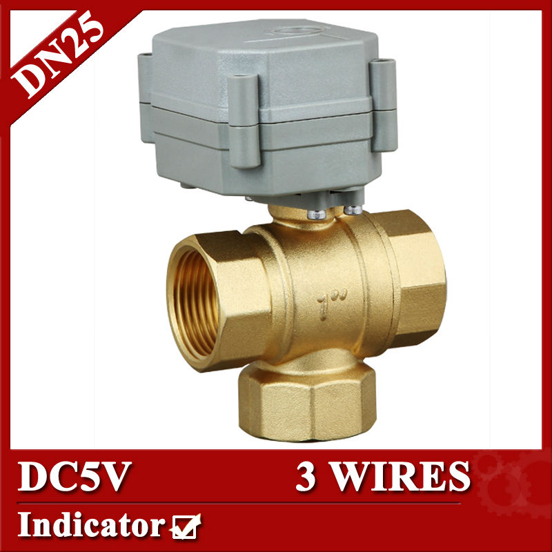 T25-B3-C 5VDC control 3 wires mini 3 way motorized ball valve with indicator,DN25 NPT/BSP brass valve,T type,1.0Mpa mini brass ball valve panel mountable 450psi with lever handle chrome plated malexfemale npt