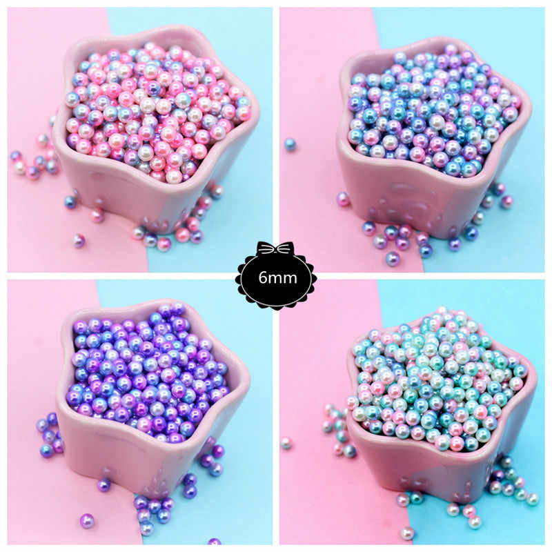 20g 6mm DIY Slime Pearl Filling Clay Crystal Glue Decoration Round Ball Mini Mermaid Beads Charm DIY Wish Bottle Filling