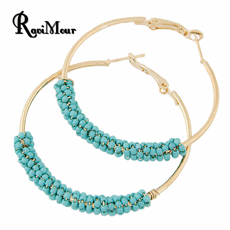 buy bohemian beads hoop earrings for women jewelry fashion gold color round. Black Bedroom Furniture Sets. Home Design Ideas