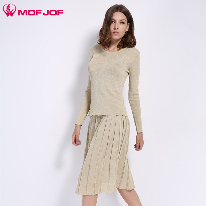 Women Lurex Thin Knitted Suits Long Sleeve o neck Shining Threads Knitting Sweater and A-line Midi Pleated Skirt sets Vestidos