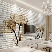beibehang Custom Tulip 3D brick living room background wallpaper photo home decoration three dimensional brick pattern