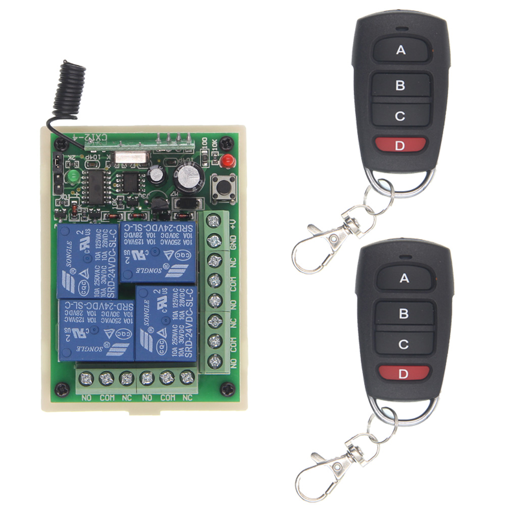 DC 12V 24V 4 Channel 4CH RF Wireless Remote Control Switch System Receiver + Transmitter, 315 433 MHz hot sales 1 channel dc 12v rf wireless remote control switch 4 receiver 3 transmitter with 4 buttons 3410