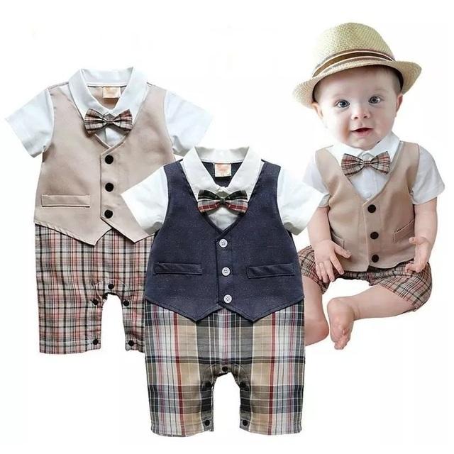 Mais novo Bebê Meninos Roupas de Verão Bebe Roupas Shortall Macacão Smoking Cavalheiro Bonito One Piece-Vest Boties Grade Terno Do Corpo