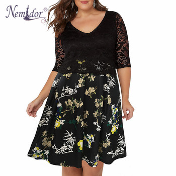 Women Half Sleeve Plus Size Dress 8XL 9XL A-line Dress Elegant V-neck Cocktail Floral Print Lace Swing Dress 1