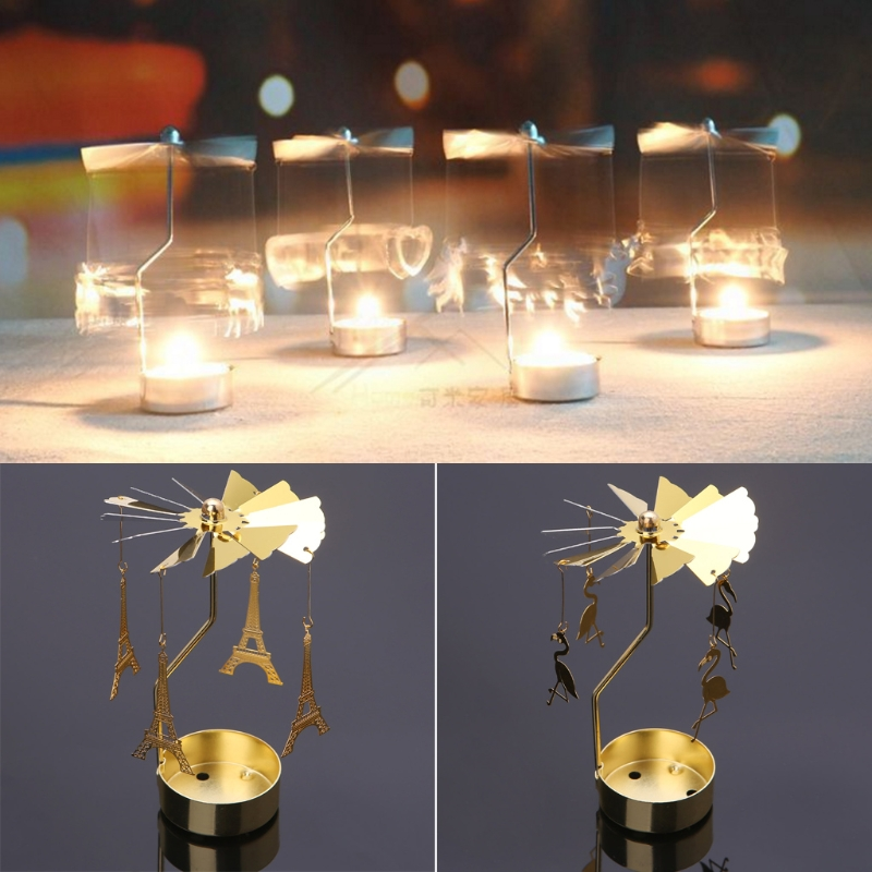 New 2018 Spinning Rotary Carousel Tea Light Candle Holder Stand Light Gift Wedding Party Decoration Candle Stand Holders