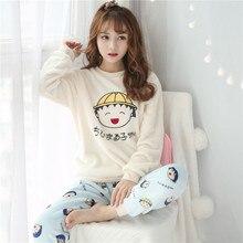 58d6e65492 Pijamas de franela caliente para las mujeres regalo niña espesar pijama de mujer  Navidad invierno ropa de dormir pantalones de r.