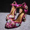 2017 new spring summer woman rhinestone high heels shoes wedding shoes bridal red purple lace platform party shoes for women