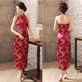 Sexy New Burgundy Women's Evening Party Dress Brand Chinese Backless Bridesmaid Cheong-sam Long Cheongsam Qipao S-XXXL 0115052